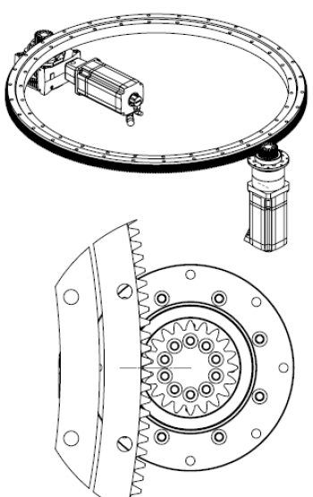 Custom designed high precision rotary systems, including gearbox, pinion and ri